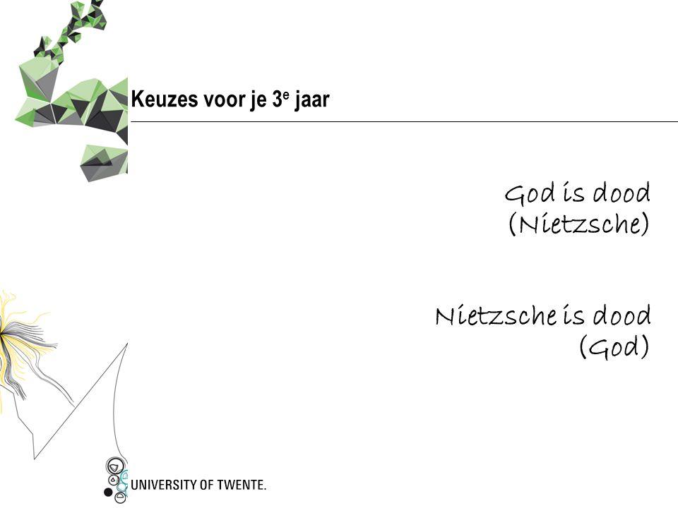 Keuzes voor je 3e jaar God is dood (Nietzsche) Nietzsche is dood (God)