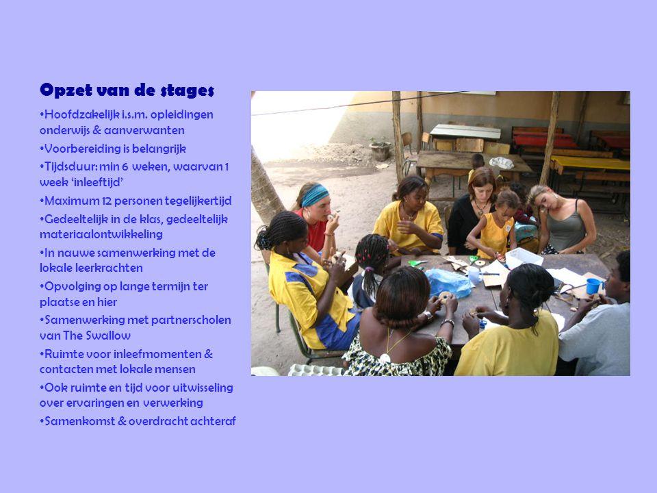 Opzet van de stages Hoofdzakelijk i.s.m. opleidingen onderwijs & aanverwanten. Voorbereiding is belangrijk.