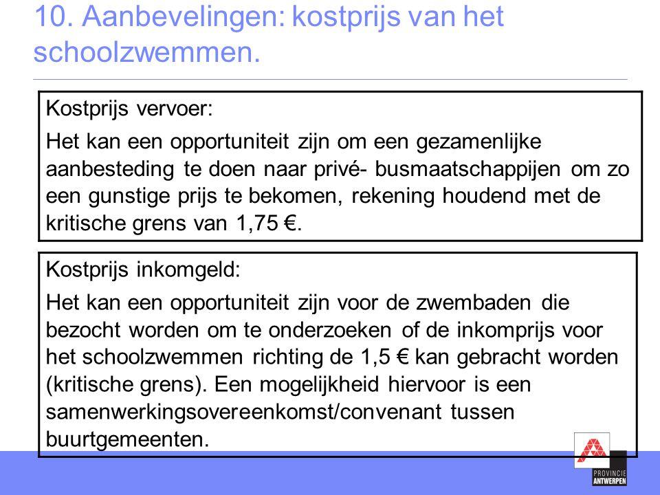 10. Aanbevelingen: kostprijs van het schoolzwemmen.