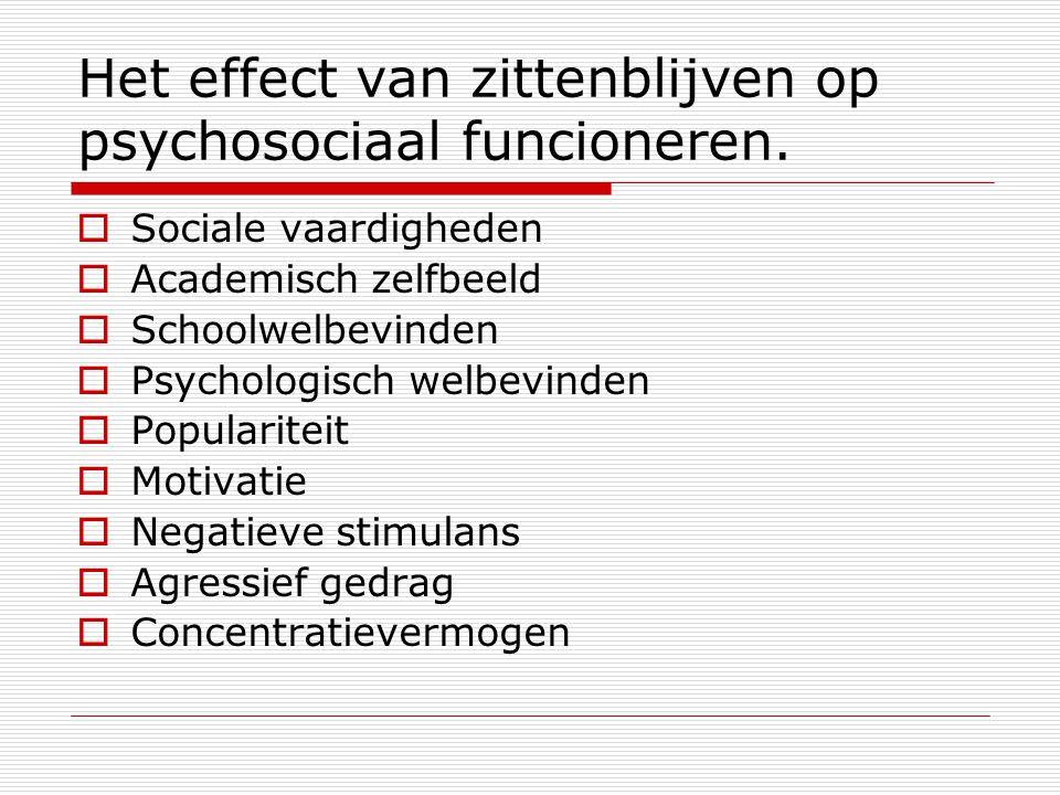 Het effect van zittenblijven op psychosociaal funcioneren.