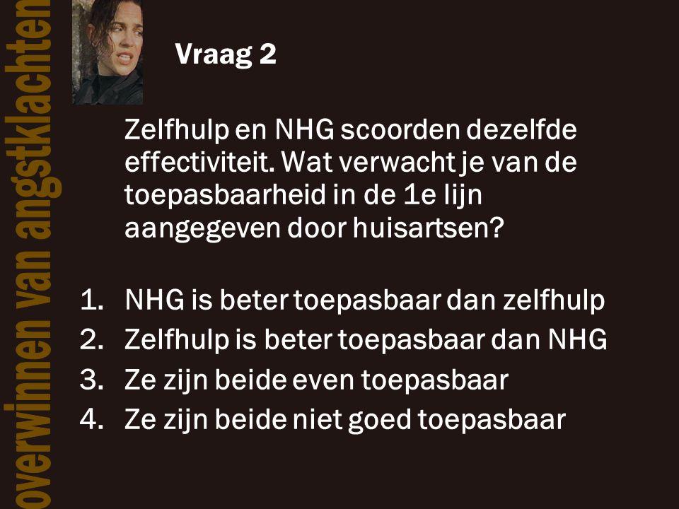 Vraag 2 Zelfhulp en NHG scoorden dezelfde effectiviteit. Wat verwacht je van de toepasbaarheid in de 1e lijn aangegeven door huisartsen