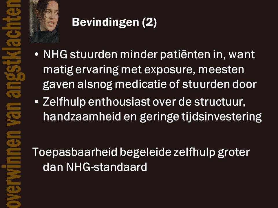 Bevindingen (2) NHG stuurden minder patiënten in, want matig ervaring met exposure, meesten gaven alsnog medicatie of stuurden door.