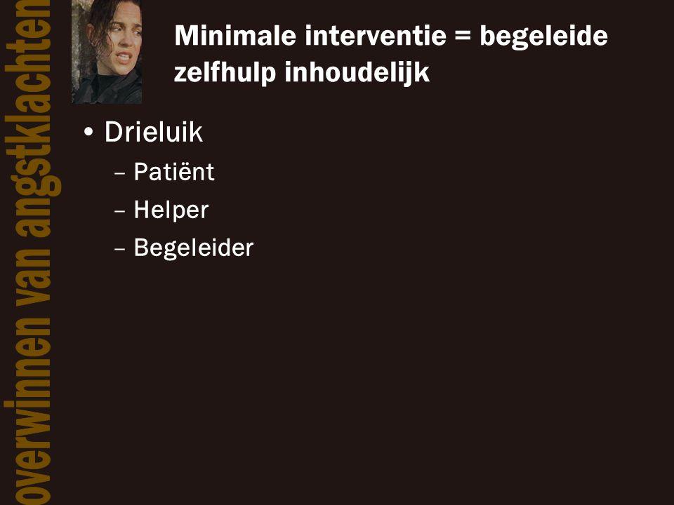 Minimale interventie = begeleide zelfhulp inhoudelijk