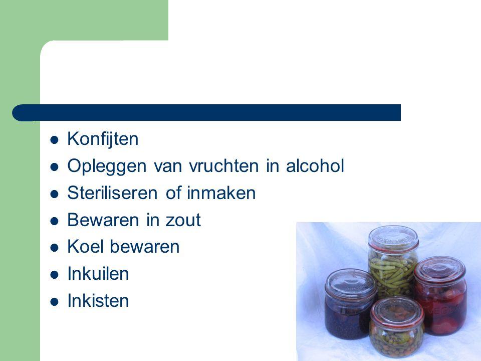Konfijten Opleggen van vruchten in alcohol. Steriliseren of inmaken. Bewaren in zout. Koel bewaren.
