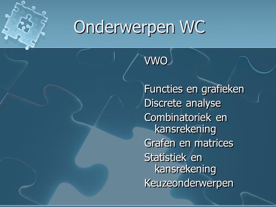 Onderwerpen WC VWO Functies en grafieken Discrete analyse