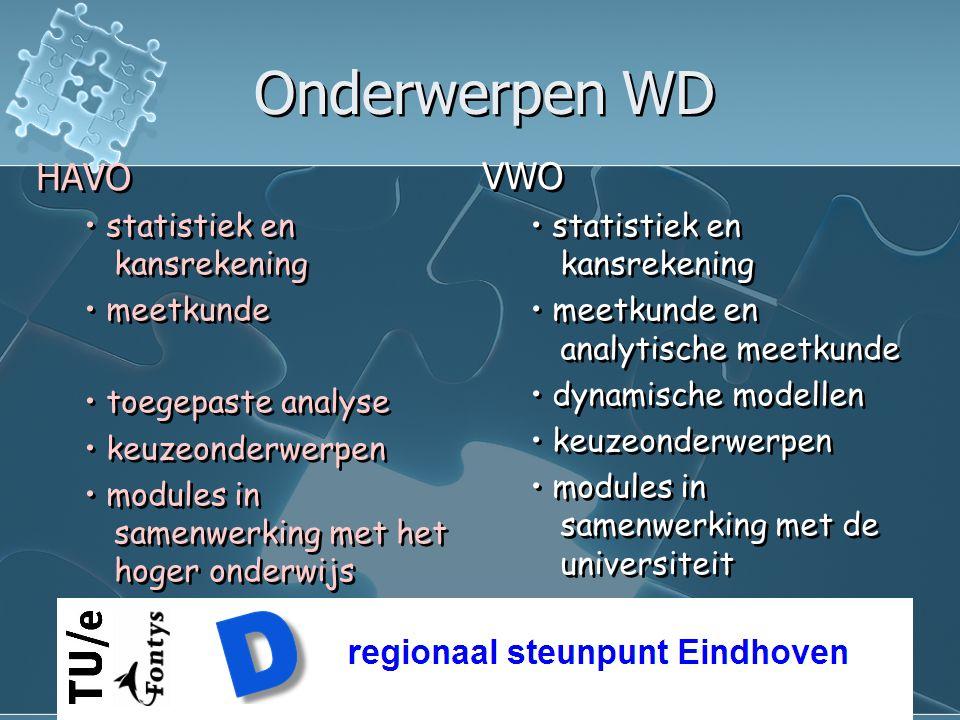 Onderwerpen WD HAVO VWO • statistiek en kansrekening • meetkunde