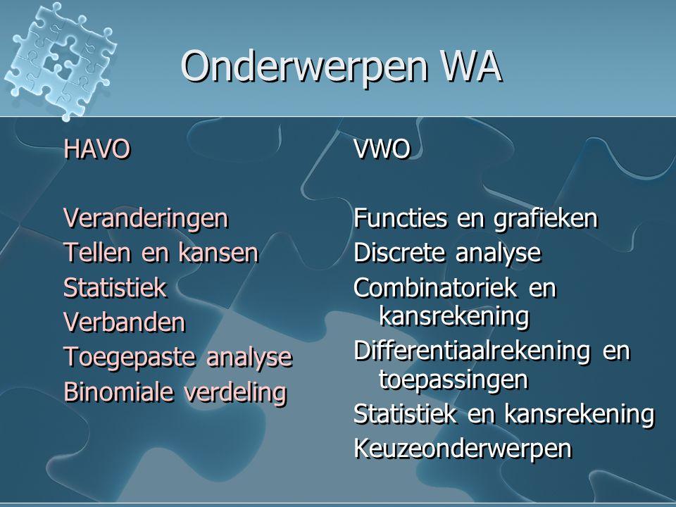 Onderwerpen WA HAVO Veranderingen Tellen en kansen Statistiek