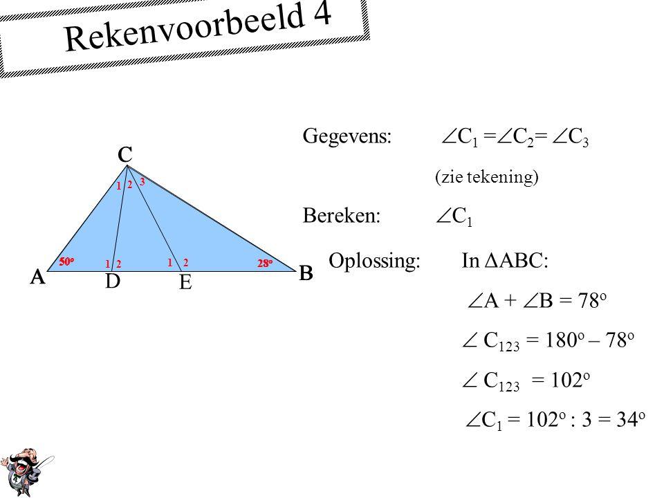Rekenvoorbeeld 4 Gegevens: C1 =C2= C3 (zie tekening) Bereken: C1 A