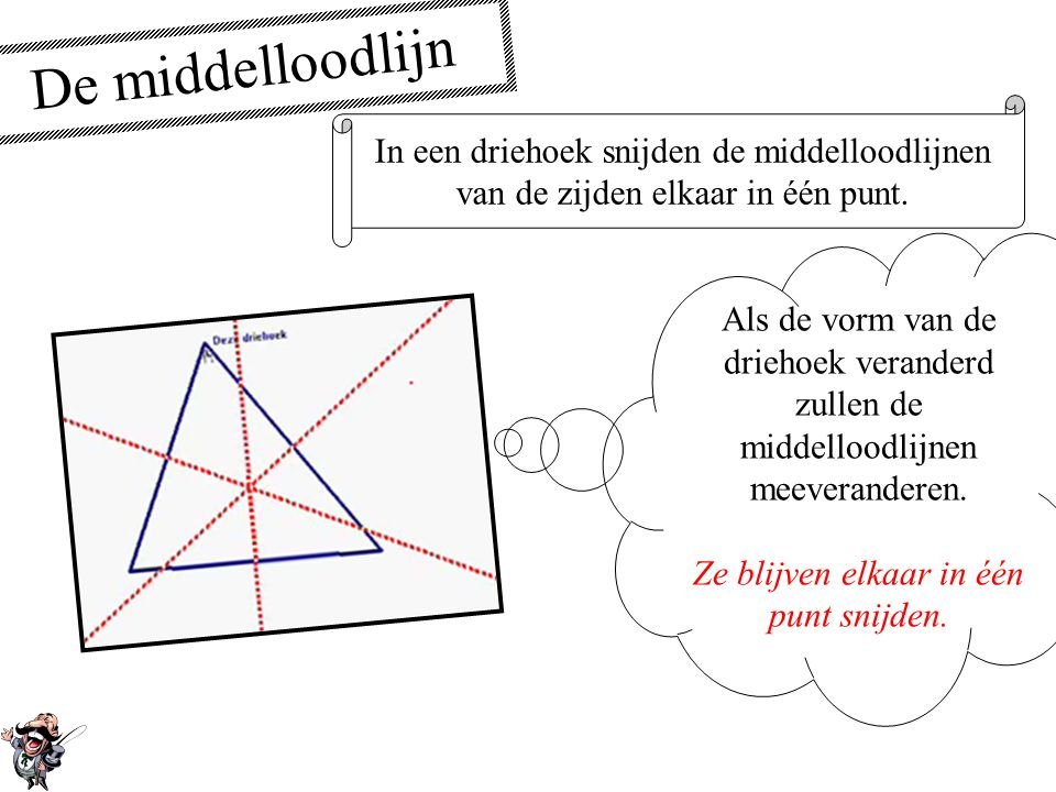De middelloodlijn In een driehoek snijden de middelloodlijnen