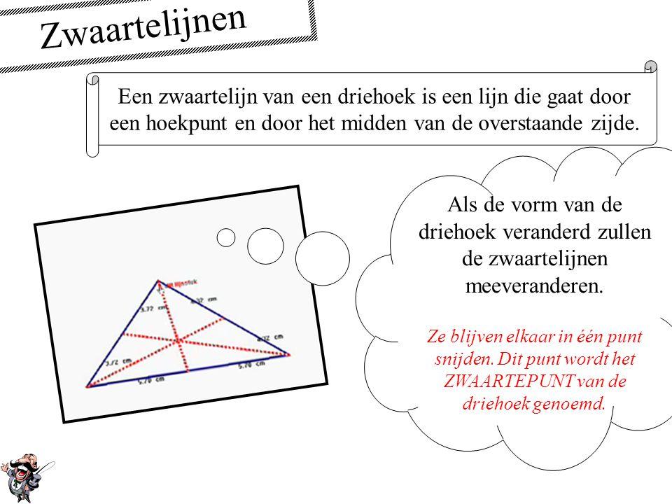 Zwaartelijnen Een zwaartelijn van een driehoek is een lijn die gaat door. een hoekpunt en door het midden van de overstaande zijde.