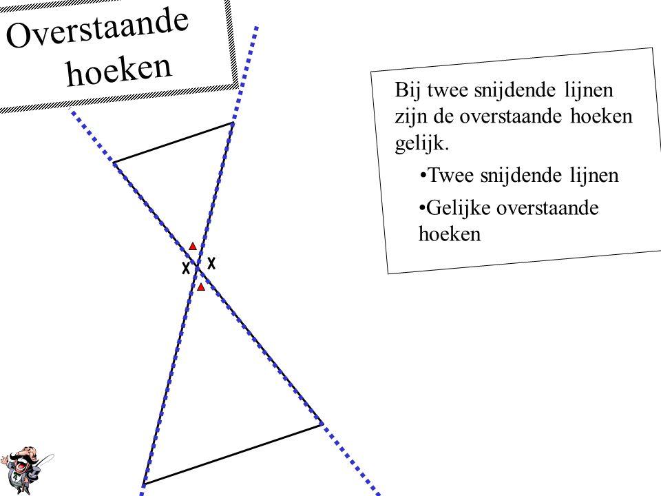 Overstaande hoeken Bij twee snijdende lijnen zijn de overstaande hoeken gelijk. Twee snijdende lijnen.