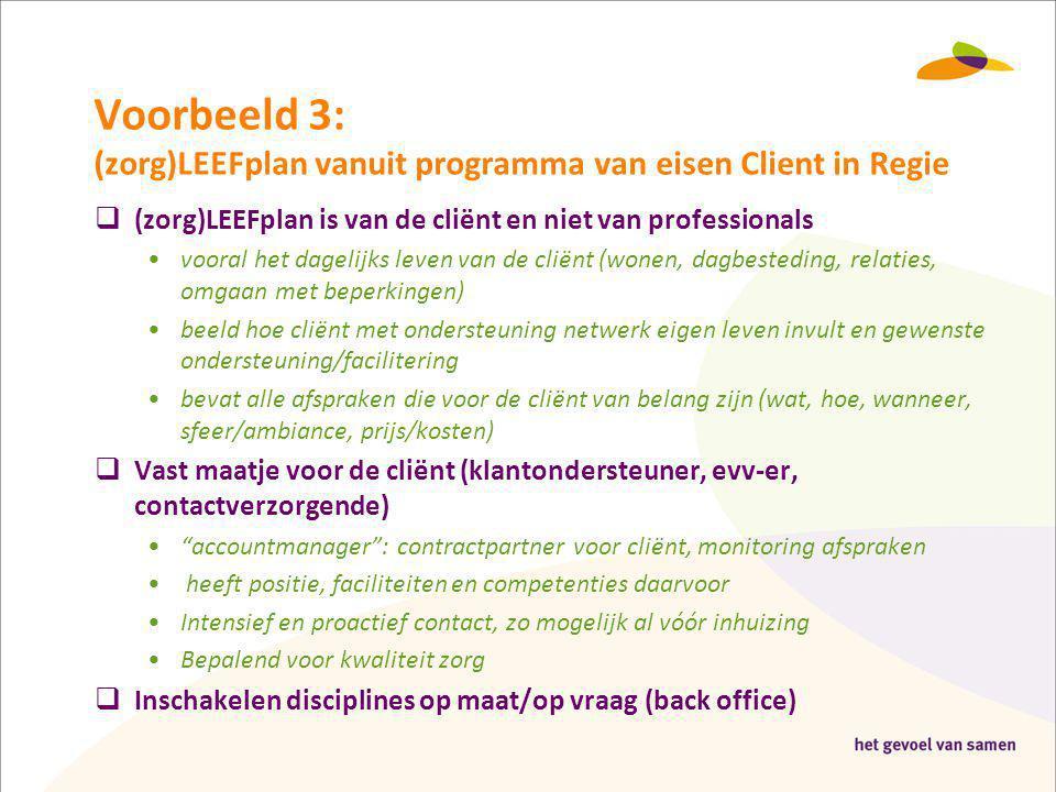 Voorbeeld 3: (zorg)LEEFplan vanuit programma van eisen Client in Regie