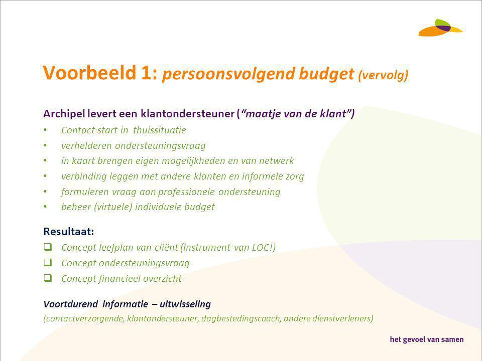 Voorbeeld 1: persoonsvolgend budget (vervolg)
