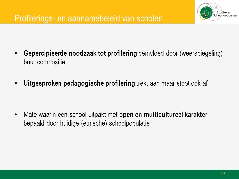 Profilerings- en aannamebeleid van scholen