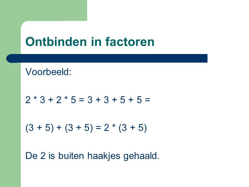 Ontbinden in factoren Voorbeeld: 2 * 3 + 2 * 5 = 3 + 3 + 5 + 5 =