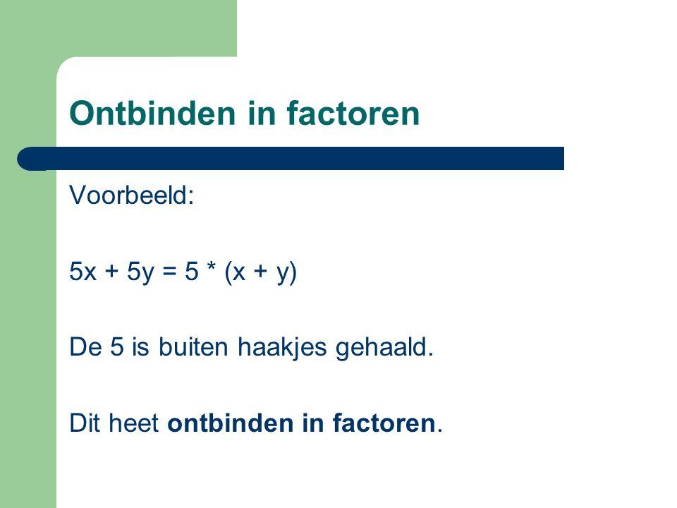 Ontbinden in factoren Voorbeeld: 5x + 5y = 5 * (x + y)