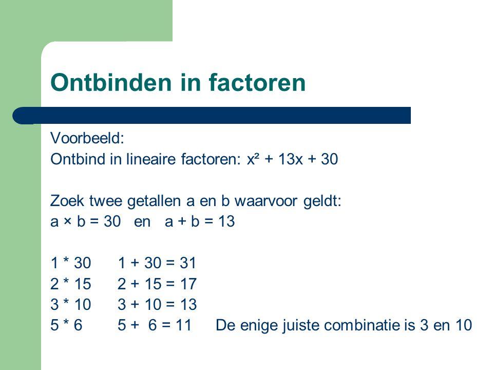 Ontbinden in factoren Voorbeeld: