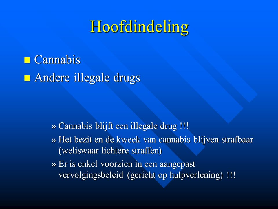 Hoofdindeling Cannabis Andere illegale drugs
