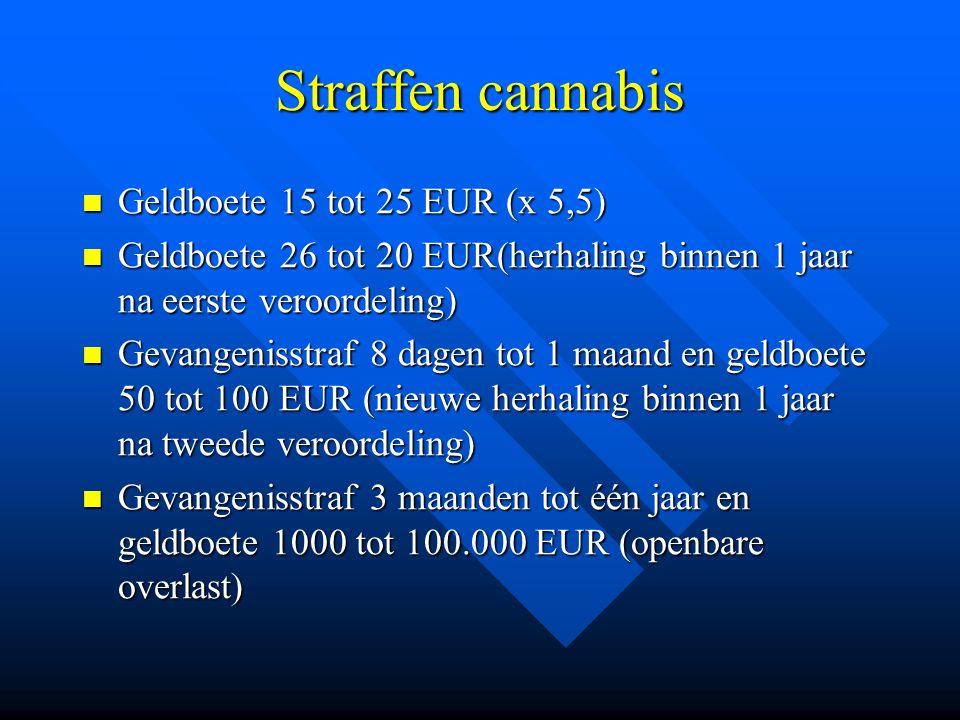 Straffen cannabis Geldboete 15 tot 25 EUR (x 5,5)
