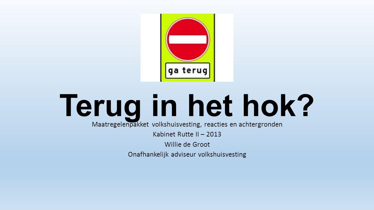 Terug in het hok Maatregelenpakket volkshuisvesting, reacties en achtergronden. Kabinet Rutte II – 2013.