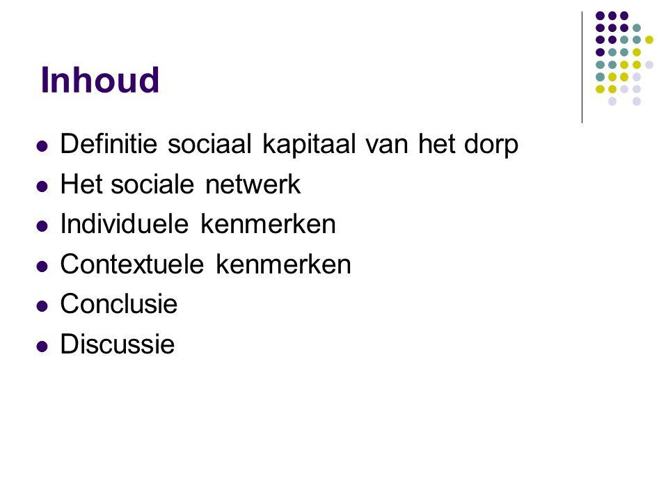 Inhoud Definitie sociaal kapitaal van het dorp Het sociale netwerk