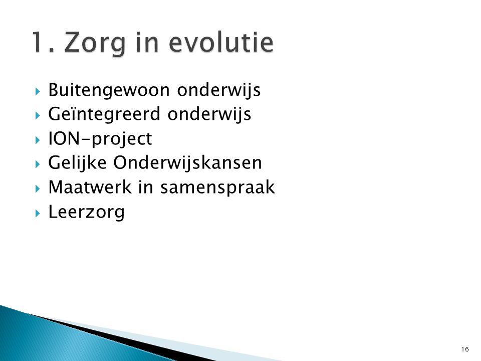 1. Zorg in evolutie Buitengewoon onderwijs Geïntegreerd onderwijs