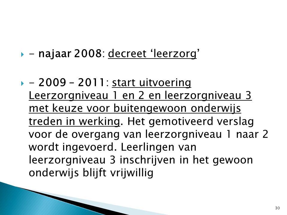 - najaar 2008: decreet 'leerzorg'