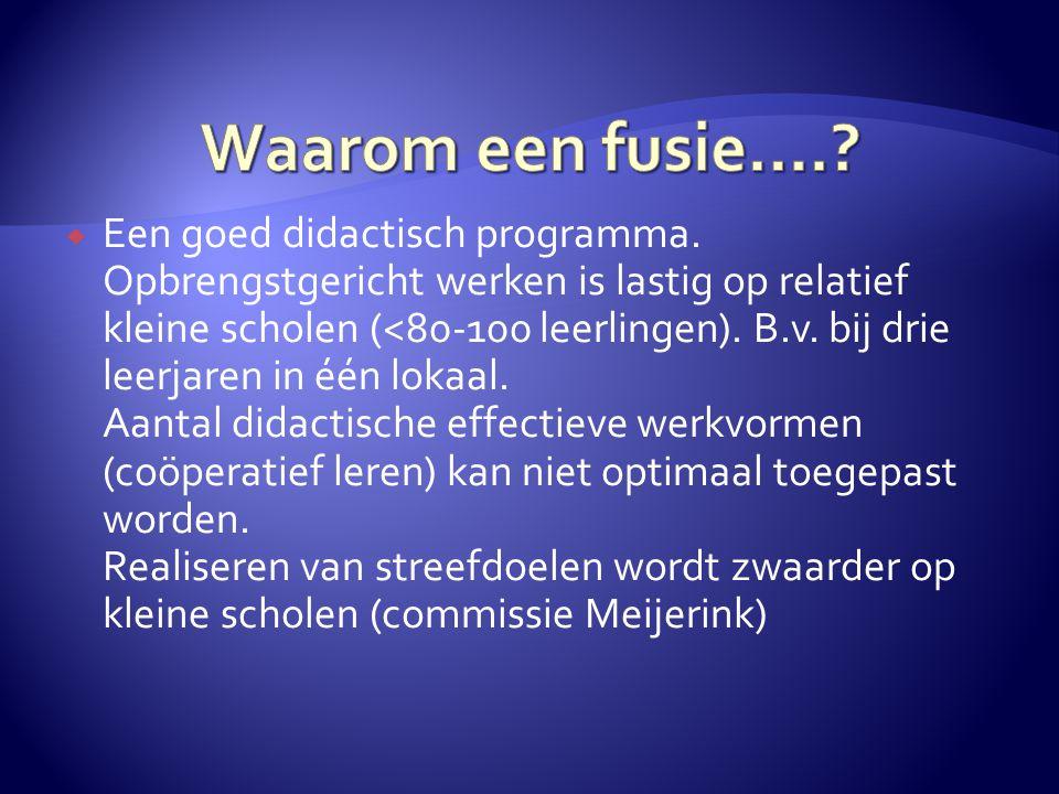 Waarom een fusie….