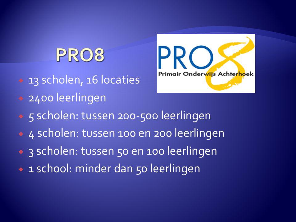 PRO8 13 scholen, 16 locaties 2400 leerlingen