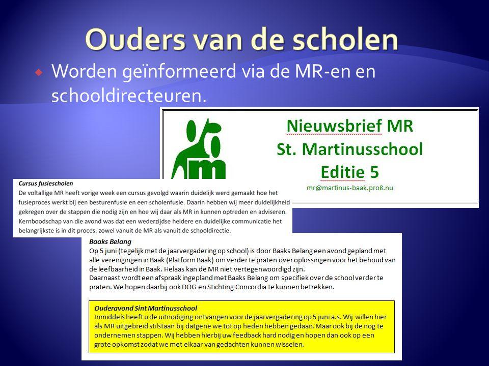 Ouders van de scholen Worden geïnformeerd via de MR-en en schooldirecteuren.