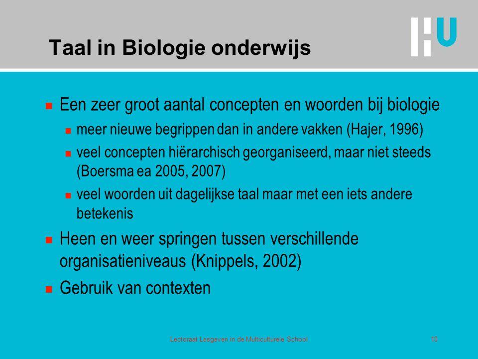 Taal in Biologie onderwijs