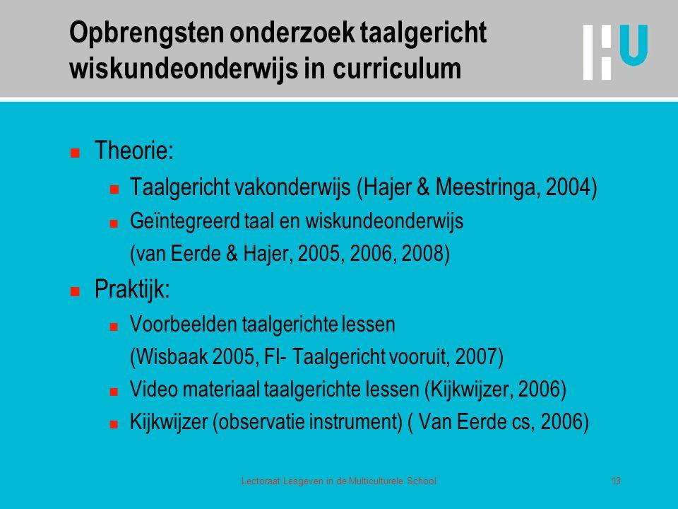 Opbrengsten onderzoek taalgericht wiskundeonderwijs in curriculum