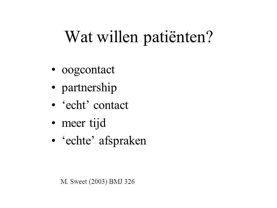Wat willen patiënten oogcontact partnership 'echt' contact meer tijd