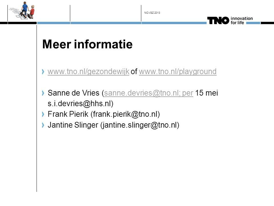 Meer informatie www.tno.nl/gezondewijk of www.tno.nl/playground