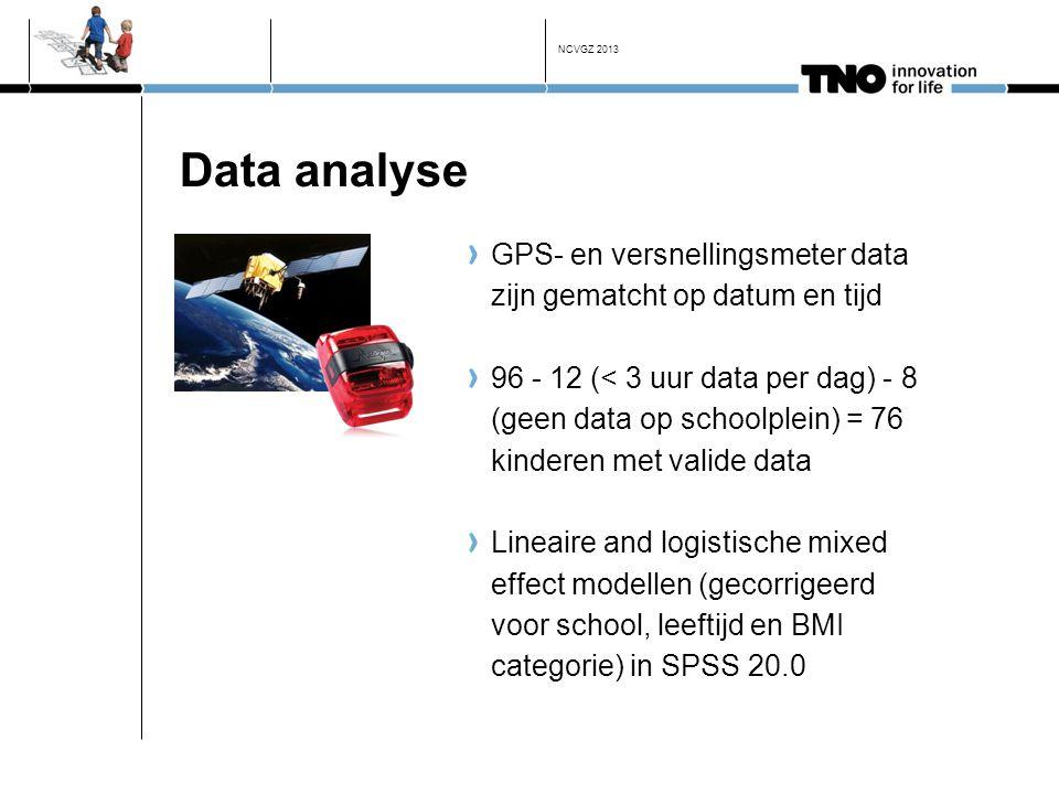 NCVGZ 2013 Data analyse. GPS- en versnellingsmeter data zijn gematcht op datum en tijd.