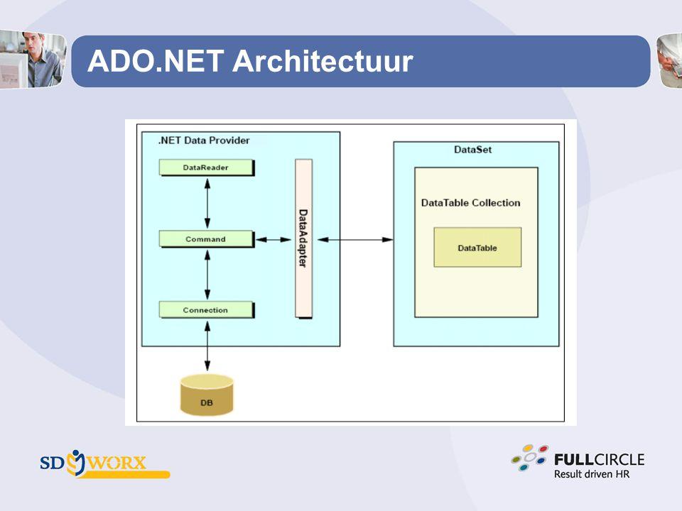 ADO.NET Architectuur Een DataTable object is een verzameling rijen uit één enkele databank tabel.