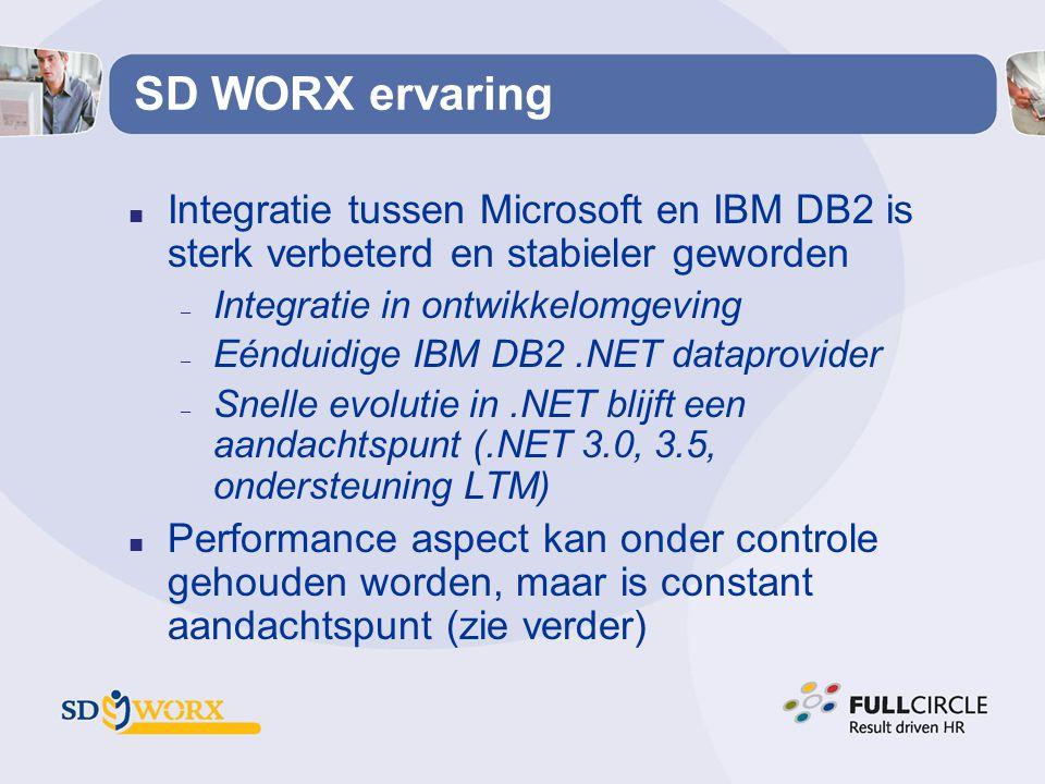 SD WORX ervaring Integratie tussen Microsoft en IBM DB2 is sterk verbeterd en stabieler geworden. Integratie in ontwikkelomgeving.