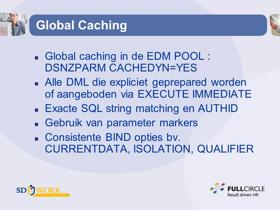 Global Caching Global caching in de EDM POOL : DSNZPARM CACHEDYN=YES
