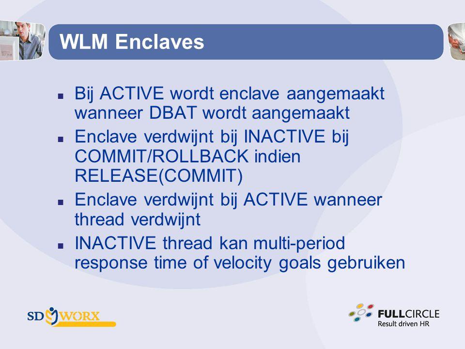 WLM Enclaves Bij ACTIVE wordt enclave aangemaakt wanneer DBAT wordt aangemaakt.