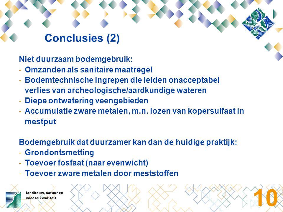 Conclusies (3) Bodemgebruik waarover kennis ontbreekt: