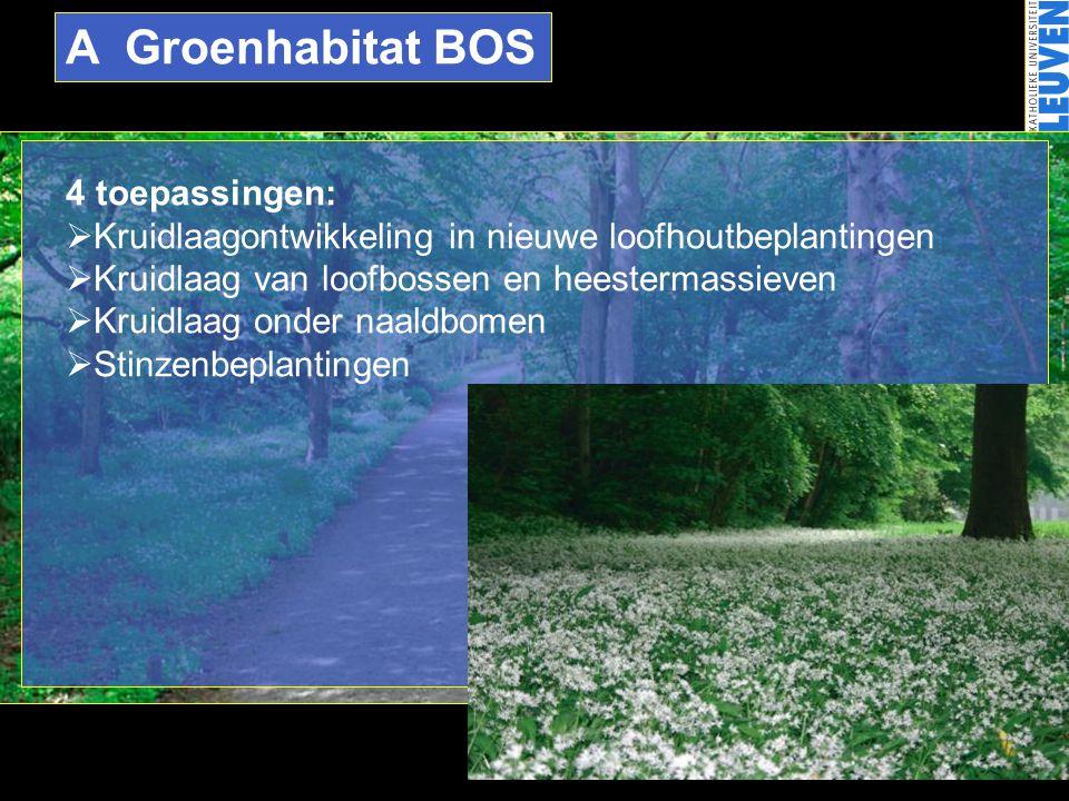 A Groenhabitat BOS 4 toepassingen: