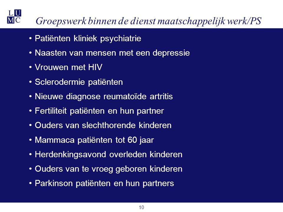 Groepswerk binnen de dienst maatschappelijk werk/PS