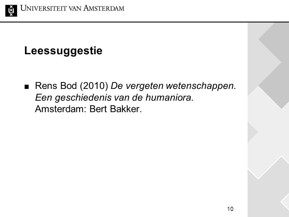 Leessuggestie Rens Bod (2010) De vergeten wetenschappen.