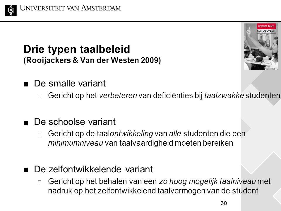 Drie typen taalbeleid (Rooijackers & Van der Westen 2009)