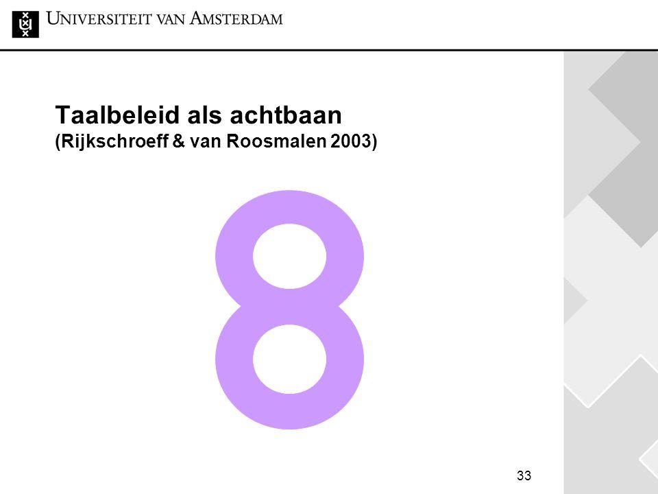 Taalbeleid als achtbaan (Rijkschroeff & van Roosmalen 2003)