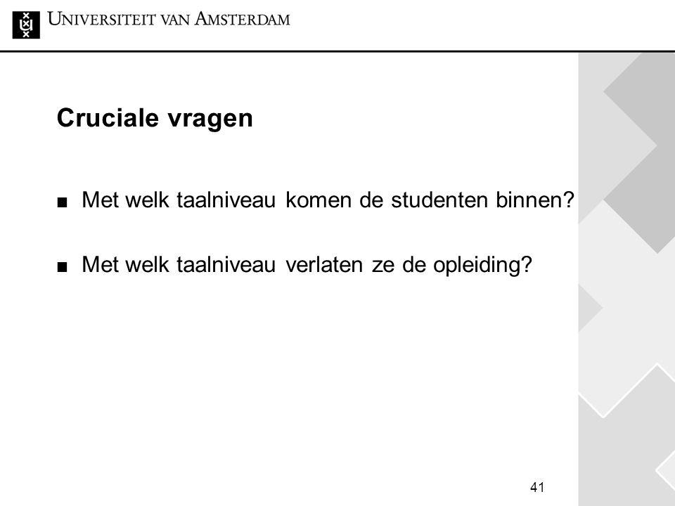 Cruciale vragen Met welk taalniveau komen de studenten binnen