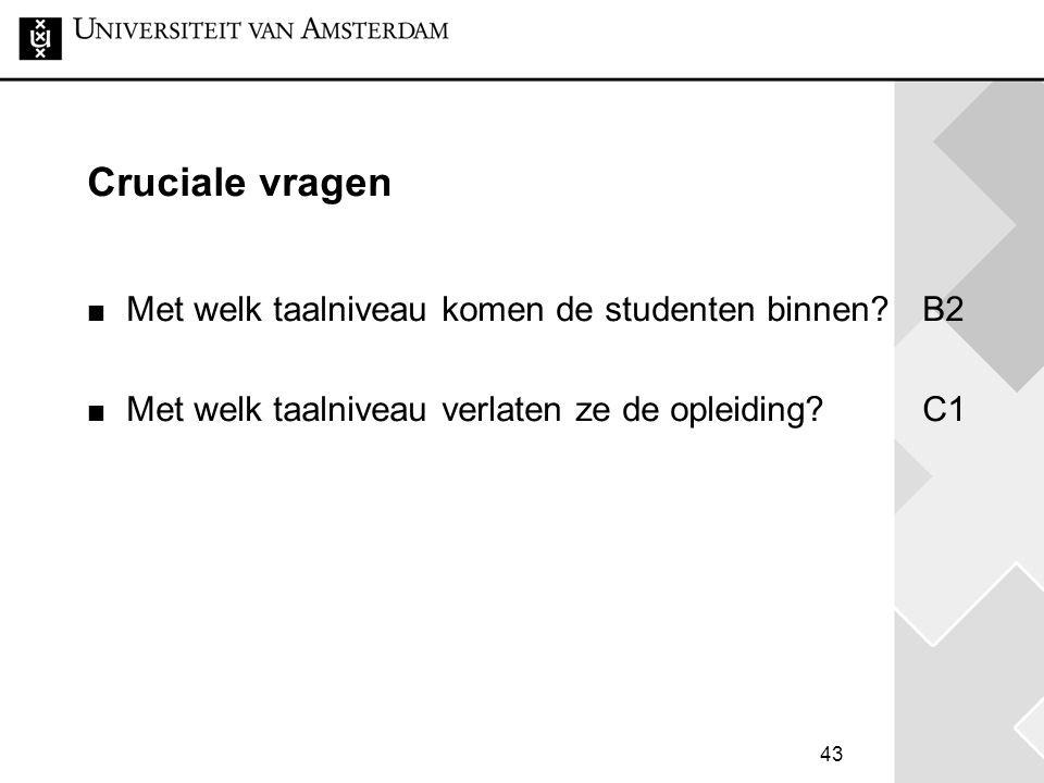Cruciale vragen Met welk taalniveau komen de studenten binnen B2
