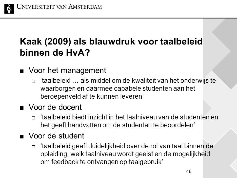Kaak (2009) als blauwdruk voor taalbeleid binnen de HvA