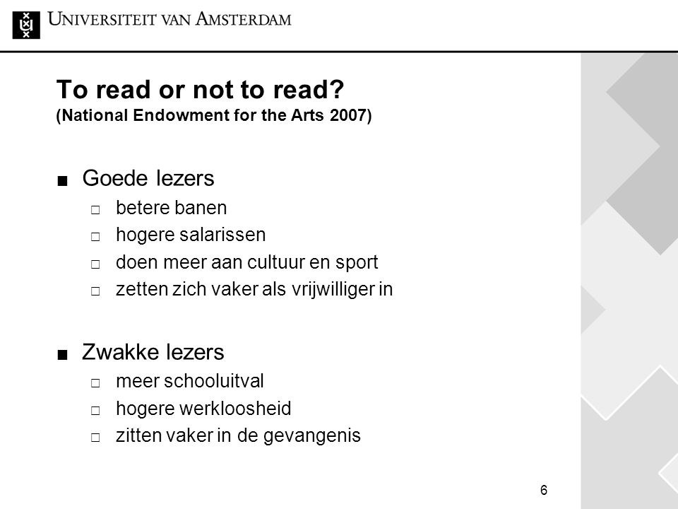 To read or not to read (National Endowment for the Arts 2007)