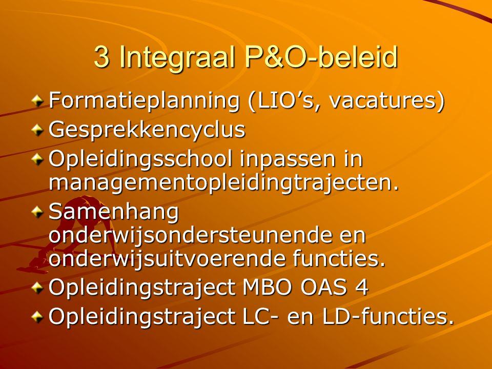 3 Integraal P&O-beleid Formatieplanning (LIO's, vacatures)